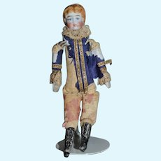 Antique Doll China Head Miniature Tall Black Boots Dollhouse