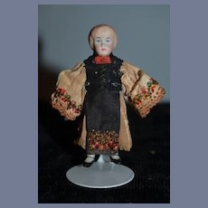 Antique Doll Miniature China Head Dollhouse Original Costume
