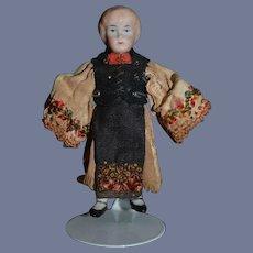 Antique Doll Miniature China Head Dollhouse Original Costume