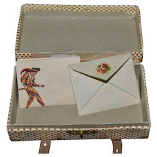 Wonderful Miniature Fashion Doll Suit Case w/ Old Letter and Envelope Sweet Dollhouse Luggage