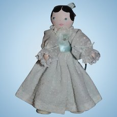 Wood Artist Doll Jointed Signed Judith Phelps W/ Bun Sweet! Signed