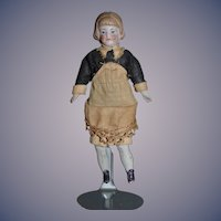 Old Doll Miniature Bisque  Dollhouse Maid Original Factory Clothing