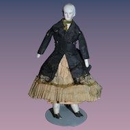 Antique Doll Dollhouse Miniature Doll Solid Dome Lady Doll Wonderful Clothes