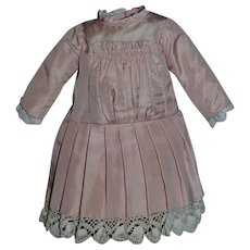 Wonderful Pleated Front Lace Trim Doll Dress