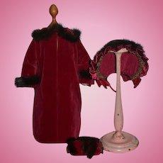 Wonderful Vintage Doll Coat & Hat Bonnet & Muff Fur Trim