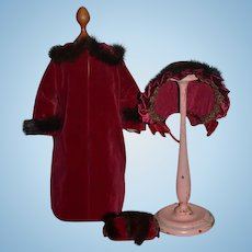 Wonderful Vintage Doll Coat & Hat Bonnet & Muff Fur Trim