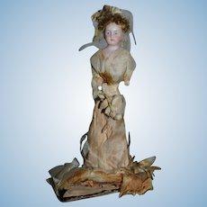 Antique Doll Bisque Miniature Bride Doll Dollhouse Paper Clothing Gorgeous Bisque Head