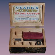 Wonderful Old Wood Spool Box W/ Thread Miniature Clark's O.N.T. Spool Cotton Doll Size Sweet Spool Holder pincushion Sewing