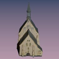Old Wood Miniature Carved Church French Le Jouet Belo  Incised Mark WONDERFUL