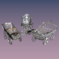 Old Doll Miniature Carriage Pram Cradle Soft Metal Ornate Dollhouse