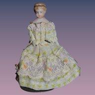 Old Miniature Dollhouse Lady China Head w/ Headband Dressed