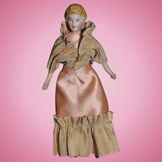 Old Doll Miniature China Head Fancy Dollhouse Lady Wonderful Clothing Bn