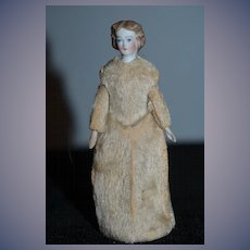 Antique Doll Miniature China Head Parian Dollhouse Fancy Hair Style Old Original Fur like outfit GORGEOUS