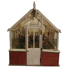 Old Doll Miniature Dollhouse Greenhouse Garden Room Wood W/ Plants Flowers Baskets Store