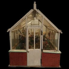 Old Doll Miniature Dollhouse Greenhouse Garden Room Wood W/ Plants Flowers Baskets Store