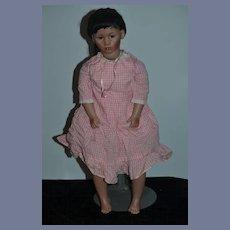 Wonderful Doll Artist Doll Sandra Mack Porcelain Character Barefoot Large Signed Black Doll
