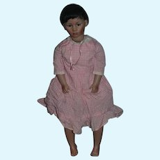 Wonderful Doll Artist Doll Sandra Mack Porcelain Character Barefoot Large Signed Black Doll