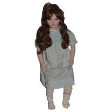 Annette Himstedt Paula Signed Porcelain Character Doll Barefoot Glass Eyes
