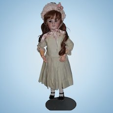 Antique Doll French Bisque DEP Walker Kissing Mechanism Cryer Long French Wig