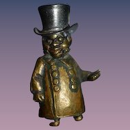 Old Miniature Statue Black Man Bronze Brass Dollhouse Character Doll