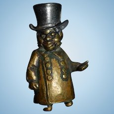 Old Miniature Statue Black Man Bronze Brass Dollhouse Character Doll