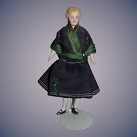 Old China Head Doll Miniature Fancy Hair Style Dollhouse