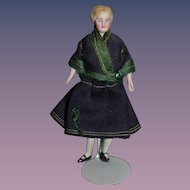 Old China Head Doll Miniature Fancy Hair Style Dollhouse