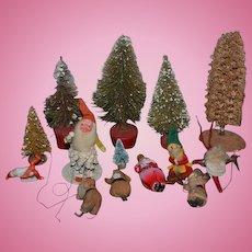 Old Miniature Doll Dollhouse Christmas Tree Santa HUGE Lot Miniatures Elf Old Felt Cloth Santa WONDERFUL