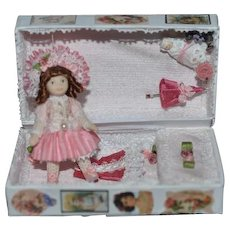 Vintage Artist Doll Trunk W/ Doll and Accessories Miniatures Baby Teddy Bear Dollhouse