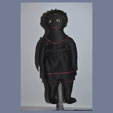 Old Cloth Doll Black Cloth Doll Button Eyes Sewn Features Folk Art