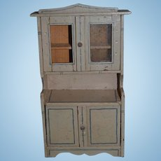 Old Wood Cupboard Miniature Wood Dollhouse Doll Chest Glass Top Cabinet