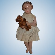 Antique Doll Schoenhut Carved Hair Wonderful Face W/ Miniature Teddy Bear Wood Jointed