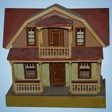 Antique Doll Dollhouse Gottschalk Two Story Wood W/ Balcony and Porch