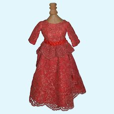 Vintage Doll Dress Satin Bow Lace Unusual