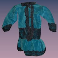 Vintage Doll Dress Blue Velvet Black Lace Drop Waist