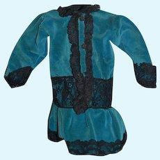 Vintage Doll Dress Blue Velvet Black Lace Drop Waist
