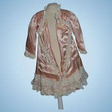 Wonderful Doll Dress Coat Satin Lace Fancy For French Doll