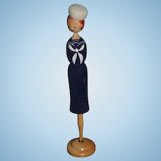 Wonderful Vintage Sailor Wood Doll Hat Stand Unusual Miniature Mannequin For Doll Store