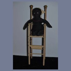 Antique Doll Chair Wood Tall Unusual Painted Wood Victorian