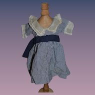 Old Wonderful Gingham Dress with a lace Collar for Doll
