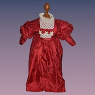 Vintage Doll Satin Lace Red Dress