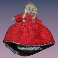 Artist Doll Miniature Topsy Turvy Little Red Riding Hood & Grandma Cloth Doll Dollhouse