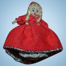 Artist Doll Miniature Topsy Turvy Little Red Riding Hood & Grandma Cloth Doll Dollhouse