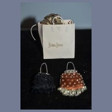 Artist Doll Miniature Lot Dollhouse Neiman Marcus and Doll Purse Set of Two