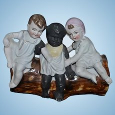 Antique Doll Piano Baby We Three Black Doll White Doll on Log Figurine Sweet Miniature
