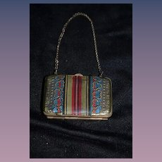 Old Doll Miniature Purse Metal with Fabric Ornate