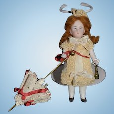 Old Doll All Bisque Miniature Dollhouse W/ Binoculars and Parasol Jointed