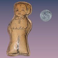 Old Doll Cloth and Leather Boy Miniature Character SWEET!