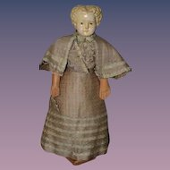 Great Old Papier Mache Doll W/ Antique Clothing Cabinet Size
