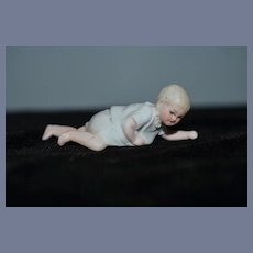 Old Doll Miniature All Bisque Piano Baby Crawling Dollhouse Figurine